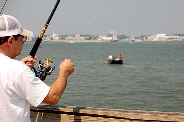 Fishing the Inlet Pier - Ocean City, Maryland