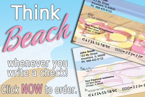 Beach Life Personal Checks at Girly Checks